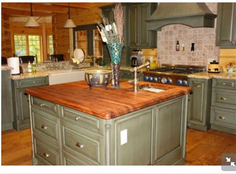 green kitchen island green island with butcher block countertop kitchen