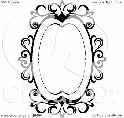 Frame Oval Swirl Vector Ornate Clipart Royalty