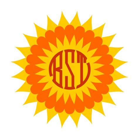 sun monogram frame svg cuttable designs