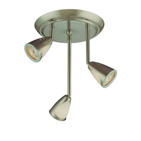ceiling track lighting hton bay 3 light staggered brushed steel ceiling track
