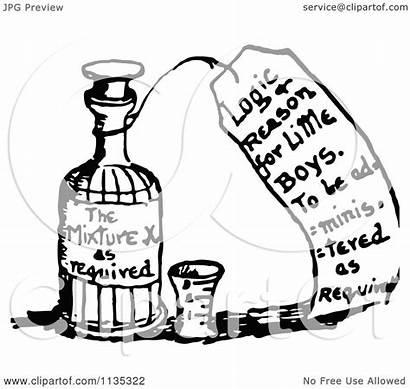 Bottle Medicine Clipart Illustration Royalty Retro Vector