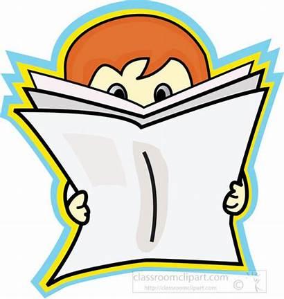 Newspaper Reading Cartoon Clipart Open Boy Clip