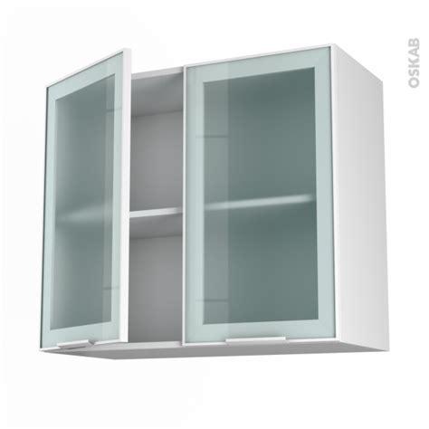 meuble haut vitré cuisine meuble haut ouvrant h70 façade blanche alu vitrée 2 portes