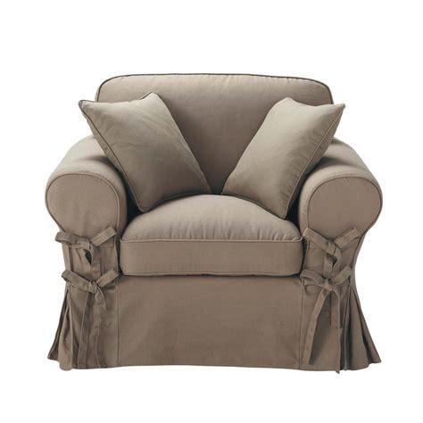 fauteuil en coton taupe butterfly maisons du monde