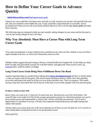 Your Career Objectives Exles by How To Define Your Career Goals To Advance Quickly By