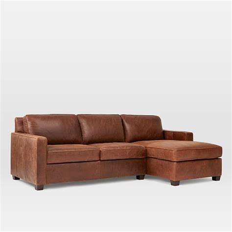 chaise henri 2 henry leather 2 chaise sectional molasses elm