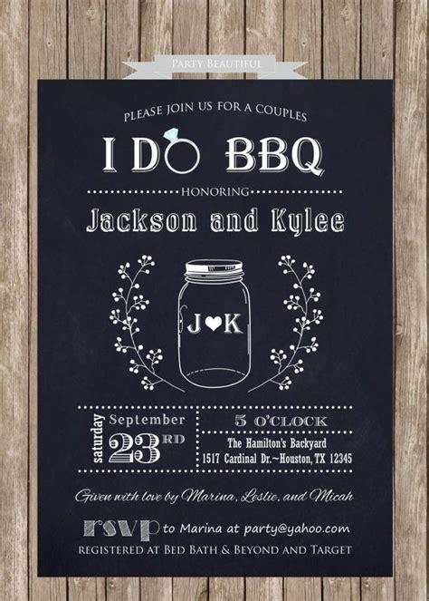 coed wedding shower couples or coed bridal shower printable invitation i do bbq chalkboa