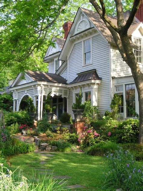 Beautiful House And Garden  White Victorian Farmhouse