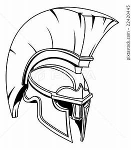 Spartan or Trojan Gladiator Helmet - Stock Illustration ...
