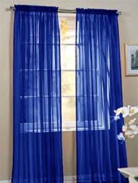 royal blue 1 pcs sheer voile window panel solid curtains