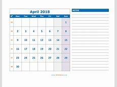 April 2018 Calendar WikiDatesorg