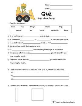 grade 3 french structures unit quiz test by la classe d