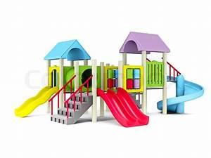 3D Illustration of motley playground on white background ...