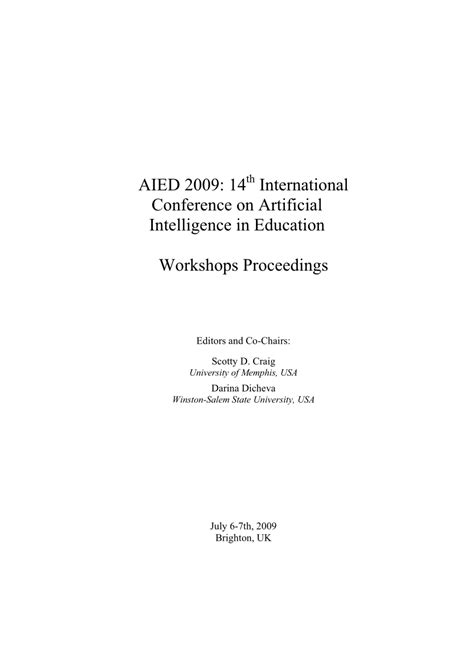 (PDF) AIED 2009: 14th International Conference on