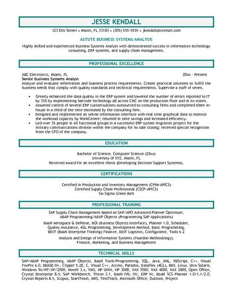 exle business systems analyst resume sle