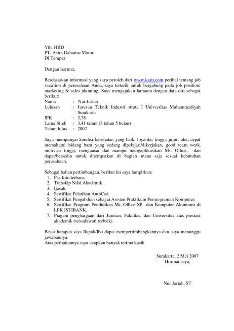 Lamaran Kerja Docx by 7 Contoh Surat Lamaran Kerja Lengkap Ben