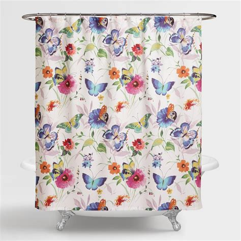 Floral Shower Curtains - butterfly watercolor floral shower curtain world market
