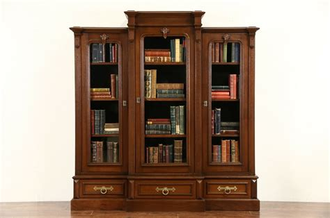 victorian  antique walnut triple library bookcase