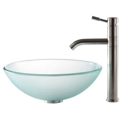 home depot kraus vessel sink kraus vessel sink in frosted glass with aldo faucet in