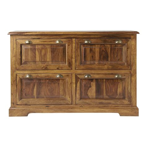 Shoe Cabinet Wood by Solid Sheesham Wood Shoe Cabinet W 140cm Lub 233 Maisons