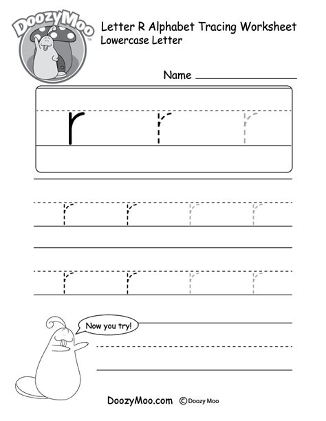 "Lowercase Letter ""r"" Tracing Worksheet  Doozy Moo"