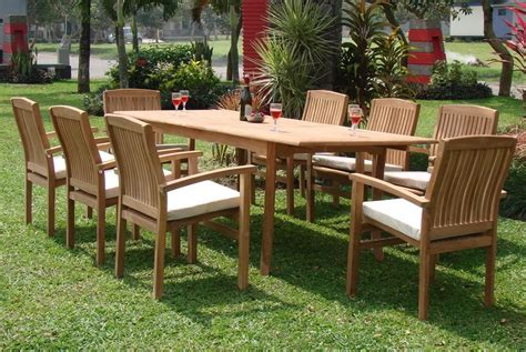Ebay Patio Furniture Canada by 9 Pc Teak Stacking Set Garden Outdoor Patio Furniture Wave