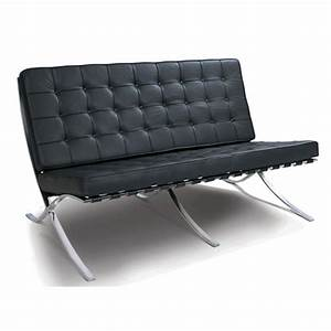 Black leather 2 seater barcelona style sofa groovyhomecouk for Barcelona sectional sofa ottoman