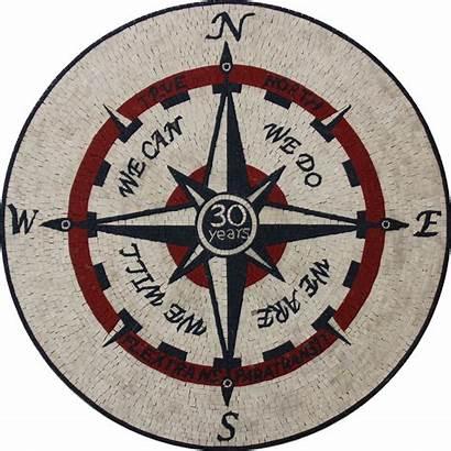 Nautical Mosaic Floor Compass Tile