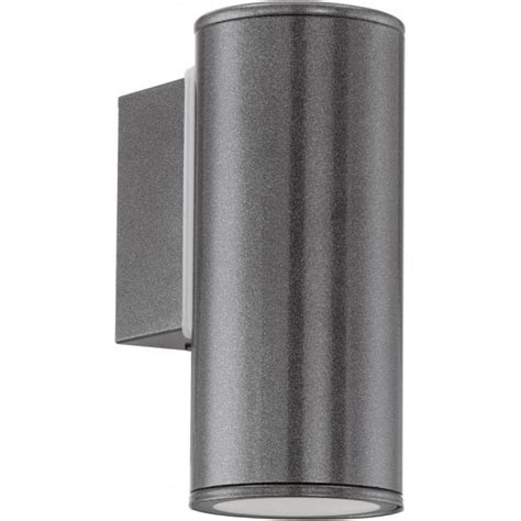 eglo lighting riga single light led outdoor wall fitting in anthracite finish castlegate lights
