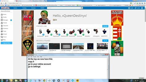 how to put your account on your roblox profile