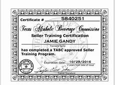 TABC Texas Alcohol Beverage Certificate