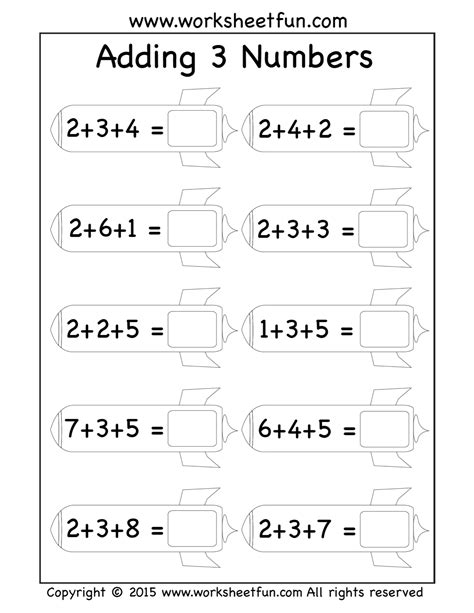 addend worksheets adding  numbers rockets