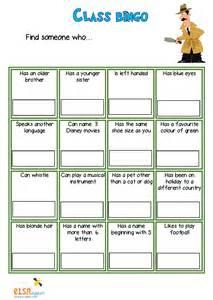 Bingo Self-Esteem Worksheets