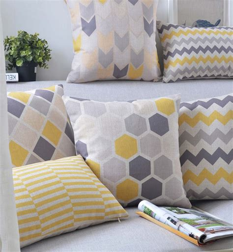 livraison gratuite mode jaune gris géométrique oreiller