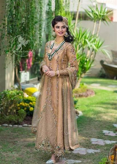 Pakistani Designer Latest Wear Party Maxi Peach
