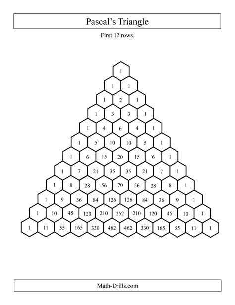 pascal s triangle worksheet pascal s triangle 12 rows a
