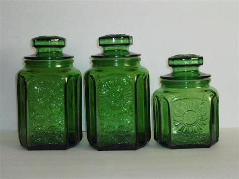 green canister sets kitchen vintage green glass kitchen canister set wheaton new
