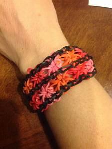 A double starburst rainbow loom bracelet I made using pink ...