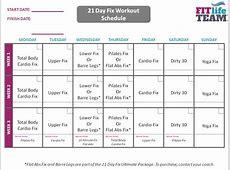 21 Day Fix Calendar weekly calendar template
