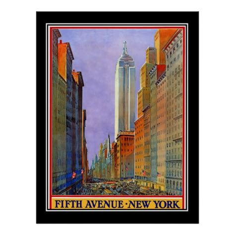 fifth avenue new york deco vintage poster zazzle