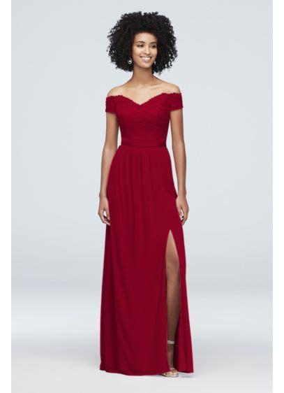shoulder lace  mesh bridesmaid dress davids