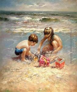 Children on Beach by Hand Painted | Oil Painting ...