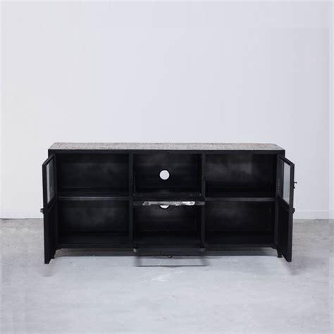 meuble tv bahut commode industriel en bois et fer 6 rangements