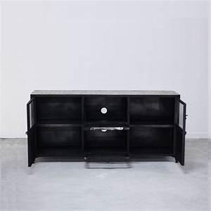 Meuble Tv Fer : meuble tv bahut commode industriel en bois et fer 6 rangements ~ Teatrodelosmanantiales.com Idées de Décoration