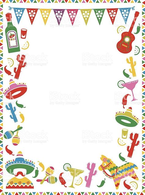 mexican themed border ideal  menus  party invites