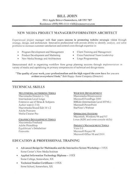 project manager resume template it project manager resume exle
