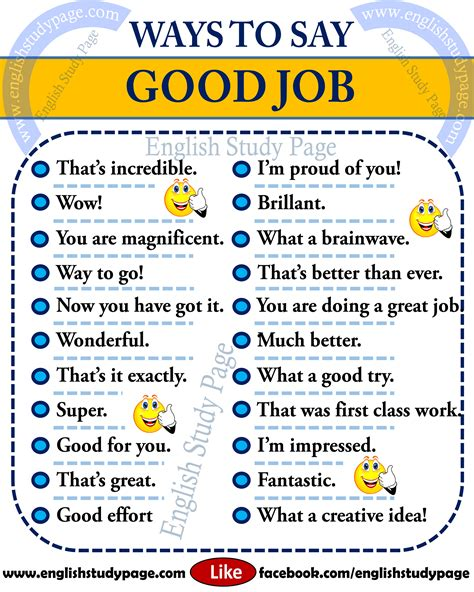 Other Ways To Say Good Job In English  English Study Page