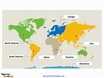World map with continents - Free PowerPoint Templates
