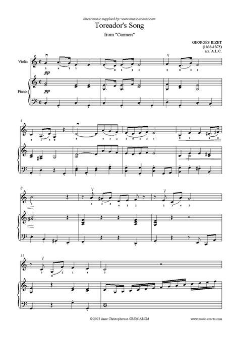 toreadors song  carmen violin sheet   georges