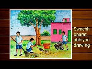 Bhutnath Chart Swachh Bharat Abhiyan Drawing By Pastel Color Step By Step